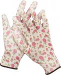 Перчатки садовые GRINDA, прозрач.PU покрытие, 13 кл. бело-розовые, S