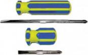 Отвертка с переставным жалом CrV,сине-желтая ручка FIT