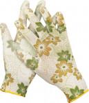 Перчатки садовые GRINDA, прозрач.PU покрытие, 13 кл. бело-зеленые, L