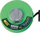 Рулетка  10м фиброгласовая лента,зеленая