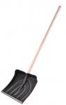 Лопата снеговая 385х380мм пластмассовая с накладкой деревянный черенок