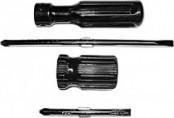 Отвертка с переставным жалом коротыш,черная ручка FIT