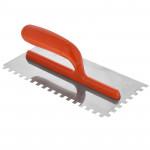 Гладилка нержавеющая,зубчатая,4*4мм с пластиковой ручкой
